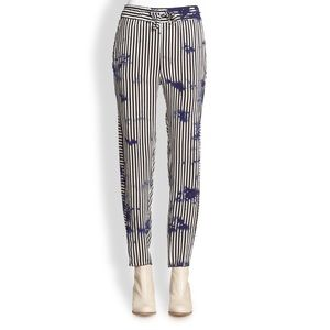 $395 RAQUEL ALLEGRA Striped Silk pants XS 0 2 4